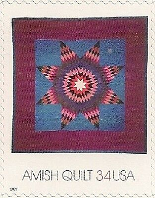 Amish Single (US 3525 Amish Quilts Lone Star 34c single MNH 2001)
