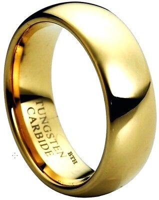 Mens Gold Gp Tungsten Carbide Wedding Engagement Band Ring 8mm -size Q
