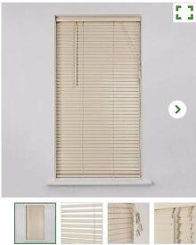 Cream Wooden Venetian Blind 60cmx160cm x2