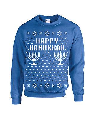 HAPPY HANUKKAH Ugly Christmas Sweater Funny Unisex Sweatshirt B109