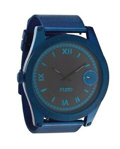 Flud Big Ben Stainless Steel Watch Blue Roman Numeral Black Interchangeable Band