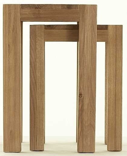 Chiltern solid oak living room lounge furniture nest of two coffee tables