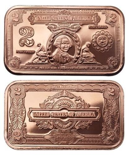 1 oz Copper Bar - $2 Washington Note