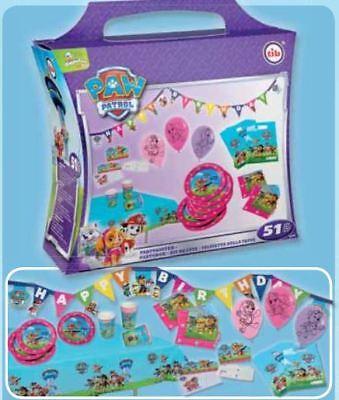 tib® Party Koffer PAW PATROL rosa für Mädchen Set 51 tlg Partybox für 6 Personen