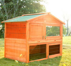 New 48 4 034 deluxe portable rabbit hutch hen house for Portable hen house