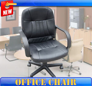 New-Leather-Adjustment-Office-Chair-Mid-Back-Computer-Task-Desk-Conference-Black