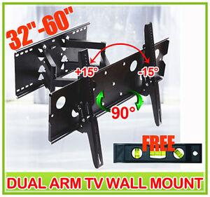 New-Articulating-Dual-Arm-32-60-LCD-Plasma-TV-Wall-Mount-Bracket-Level