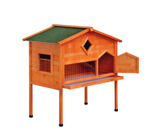 pawhut wooden 2 story bunny rabbit hutch wood guinea pig