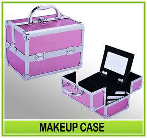New Pro Cosmetic Makeup Train Case Artist Jewelry Box Lockable w/2 drawer Pink