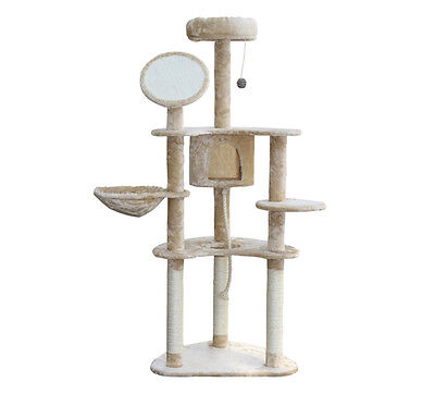 Pawhut 60'' Cat Tree Kitten Condo Furniture Scratch Post Pet House - Cream on Rummage