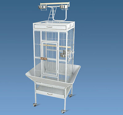 Pawhut Play Top Bird Cage w/ Stand - White - Aviary Cockatiel Parakeet Finch on Rummage