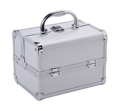 Professional Makeup Artist Cosmetics Case Jewelry Organizer Kit Box - Silver on Rummage