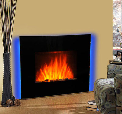 New Led Backlit Fireplace Curved Glass Electric Wall Mounted Fire Place Heater