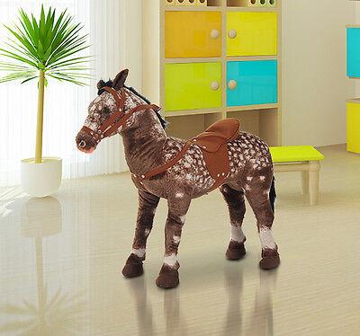 Qaba Kids Children Standing Plush Horse Soft Ride On Toys Pony Cuddly w/ Sound