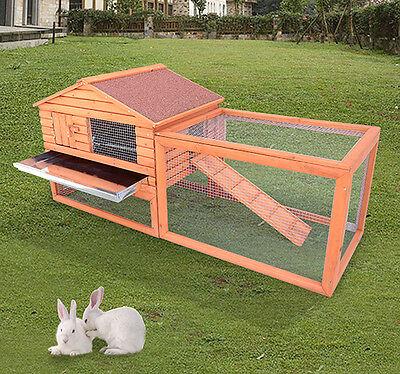 "62"" Wooden Rabbit Hutch Chicken Coop House Bunny Hen Pet Animal Backyard Run"