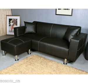 HomCom-Sectional-Sofa-Couch-Loveseat-Leather-Furniture-Living-Roon-Set