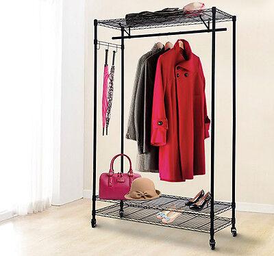 HomCom 3-Tier Rolling Garment Storage Rack Wire Clothing Coat Shelf Organizer