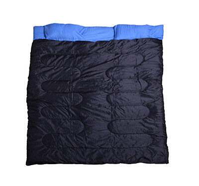 "Outsunny 2 Person Double Wide Camping Sleeping Bag 23F/-5C 86"" x 60"" w/ Pillows on Rummage"