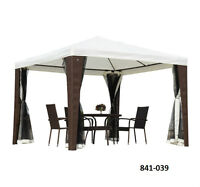 10' x 10' Rattan Party Tent with Mesh Walls – Cream/Brown