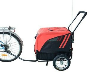 New 2IN1 Pet Bike Bicycle Trailer Stroller Carrier Dog Cat 360 Swivel Red Black