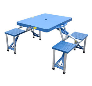 Outdoor Portable Folding Camp Suitcase Camping Picnic Table w/ 4 Seats - Blue