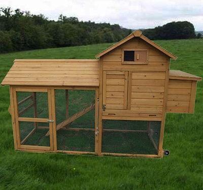 Pawhut deluxe portable wood chicken coop backyard hen for Portable coop