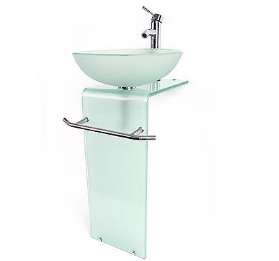 New bathroom vanities pedestal frosted full glass vessel sink w faucet combo ebay for Bathroom sink and cabinet combo