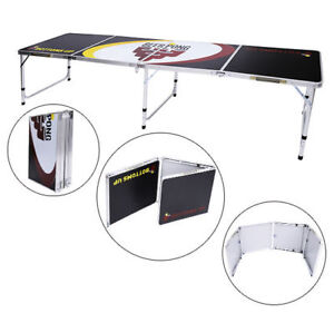 8FT Portable Aluminum Beer Ping Pong Table Folding Drinking Outdoor Game Party