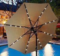 Solar Patio Umbrella 24 LED Lights Outdoor Sunshade Market