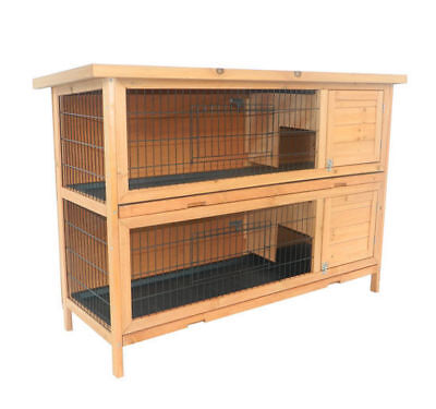 Pawhut Wood Rabbit Hutch Bunny Small Animal Habitat Water Resistant 2 Stories