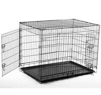 """48"""" Long Dog Crate Cage Kennel Two Doors Pet Pen"""