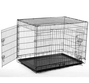"48"" Long Dog Crate Cage Kennel Two Doors Pet Pen"