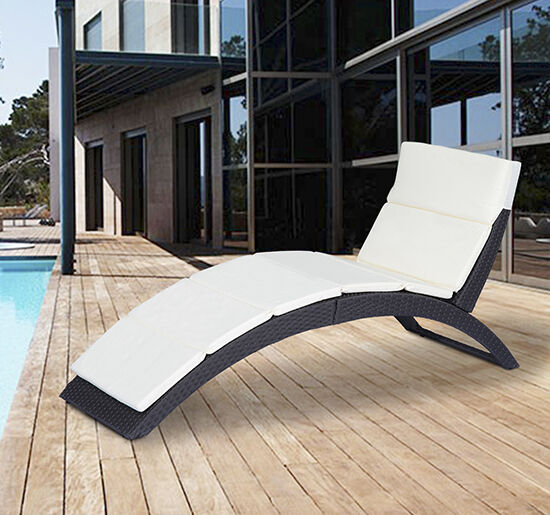 Outsunny Folding Outdoor Patio Rattan Wicker Sofa Chaise