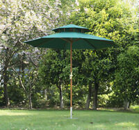 Wooden Patio Umbrellas - Ivory/Red/Green - TAX INCL