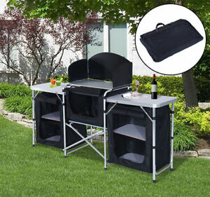 Camping Kitchen Picnic Cabinet Table Portable Folding Cooking Storage Rack Alu