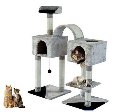 Pawhut Kitty Cat Scratcher 46″ Pet Cat Tree Two Condo Post Tower Toy Gray/Black