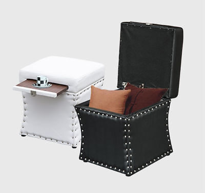 Faux Leather Storage Seat (New Faux Leather Ottoman Storage Box Lounge Seat Foot Stool w/Cup Holder Tray )