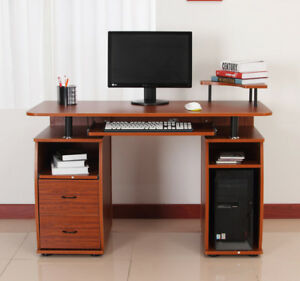 Wooden Computer Desk Study Table PC Desktop with Print Shelf
