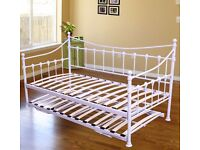 Single Metal Bed Daybed w/ Pull Out Guest Trundle Sleeper Frame Bedstead White