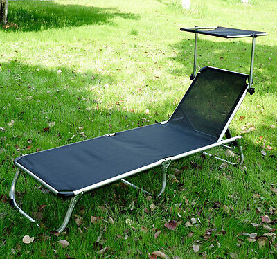 folding reclining beach sun patio chaise lounge pool lawn chair w shade black ebay. Black Bedroom Furniture Sets. Home Design Ideas
