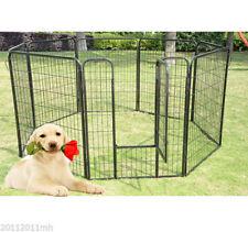 "Heavy Duty Pet Playpen Dog Exercise Pen Cat Fence Black 8 Panel 24"" 32"" 39.4"""