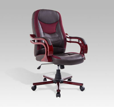 Swivel Executive Computer Office Chair PU Seat Back Desk Chair Adjustable Brown
