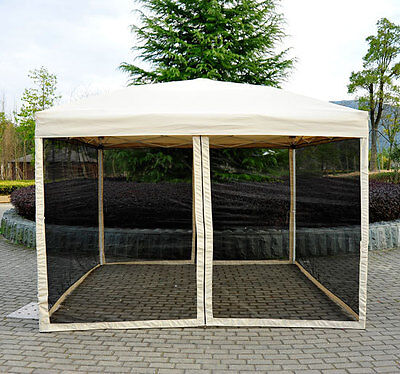 Outsunny 10' x 10' Easy Pop Up Canopy Gazebo Tent w/ Mesh Side Walls - Tan  on Rummage