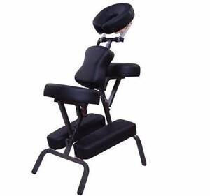 "4"" Foam Portable Massage Chair PU Leather Spa Beauty Chair Black / portable massage chair / mobile massage chair NO TAX"