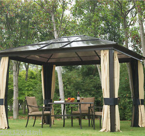Outsunny 12 039 X10 039 Hard Top Gazebo Deluxe Roof With Mosquito Netting Curtains New Ebay
