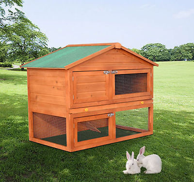 "48.4"" High Duality Portable Wooden Rabbit Hutch House Chicken Coop"