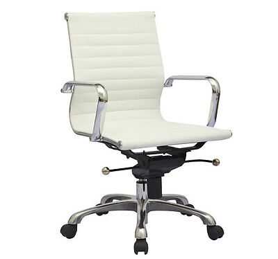 Modern design ribbed mid back synthetic leather office computer chair
