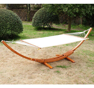 Solid Curved Wood Arc Cotton Hammock Cot Stand Outdoor Furnitur