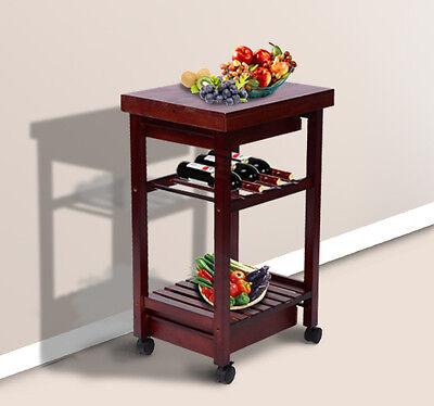 HomCom New Kitchen Cart Trolley Wine Rack Rolling Drawers W/Wheels
