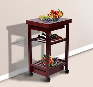 Homcom New Kitchen Cart Trolley Wine Rack Rolling Drawers W Wheels Ebay
